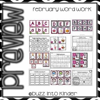 February Word Work for Kindergarten