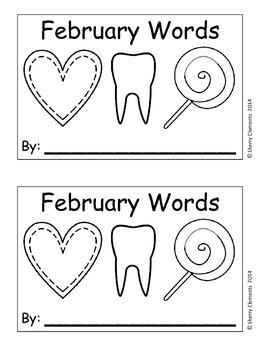 February Words Book (sentence writing)