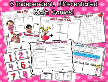 February Write On Wipe Off Math Centers and Games Common Core Correlated