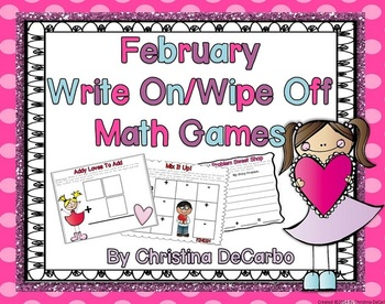 February Write On Wipe Off Math Centers and Games Common C