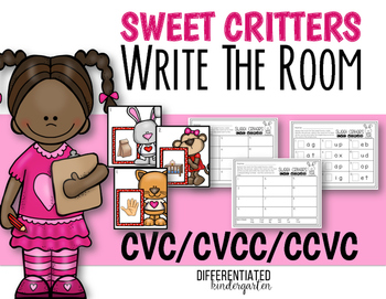 February Write The Room CVC/CVCC/CCVC Word Work-Differentiated