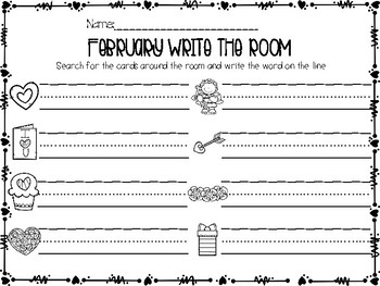 February Write the Room Activities Valentine's Edition