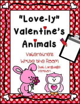 February Write the Room: *Valentine's Animals* Dual Language Version