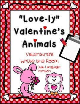 February Write the Room: *Valentine's Animals* Dual Language Version