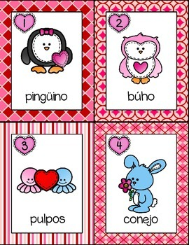 February Write the Room: *Valentine's Animals* in Spanish