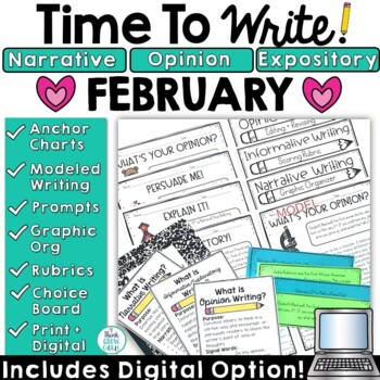 February Writing Prompts: Posters, Models, Rubrics, and Organizers