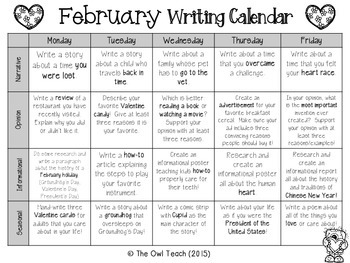 Writing Calendar:  20 Prompts for the Month of February