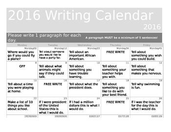 February Writing Calendar