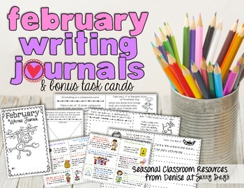 February Writing Journal and Task Cards