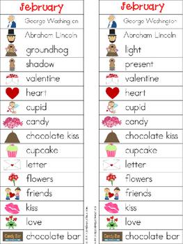 February Writing Center Tools: February Words