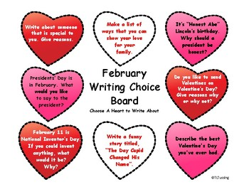 February Writing Choice Board