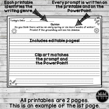 February Writing Journal: Narrative, Informational & Opinion Prompts--EDITABLE!