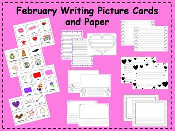 February Writing Picture Cards and Paper Writing Center
