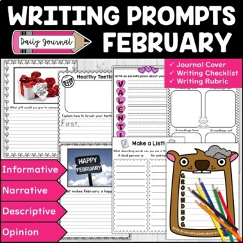 February Writing Prompts | February Themed Writing Journal | Writing Center