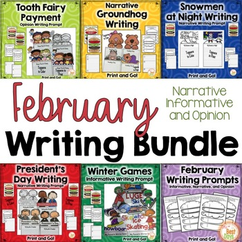 February Writing Prompts BUNDLE: Narrative, Informative, and Opinion Writing