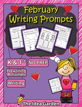 February Writing Prompts NO PREP (Kindergarten and First)