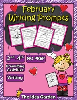 February Writing Prompts NO PREP (Second-Fourth)