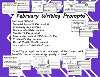 February Writing Prompts with Lined Paper