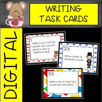 February Writing Task Cards (Valentine's, President's and 100th Days)