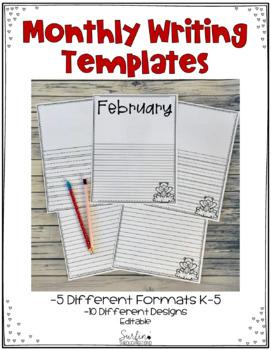 February Writing Templates Editable