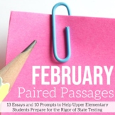 February Writing Test Prep & ELA Paired Passages for Upper