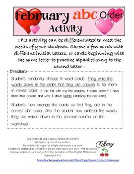 February abc Order Center Activity