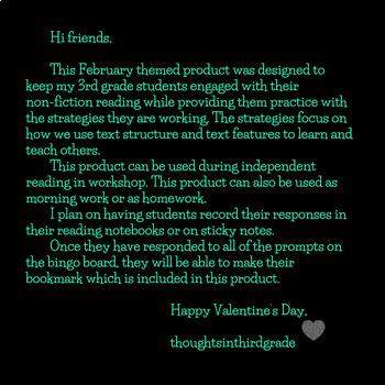 Non-Fiction February and Valentine's Day READING BINGO