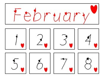 February (heart) Calendar title and numbers