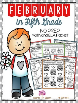 February in Fifth Grade (NO PREP Math and ELA Packet)