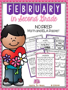 February in Second Grade (NO PREP Math and ELA Packet)
