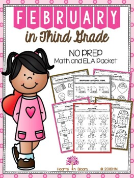 February in Third Grade (NO PREP Math and ELA Packet)