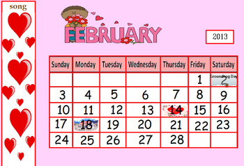 February math calendar for ActivBoard- 1st. and 2nd. grade!!