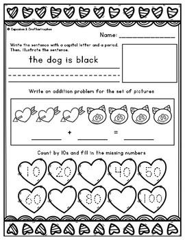 February or Valentine's Day Morning Work or Homework for Kindergarten