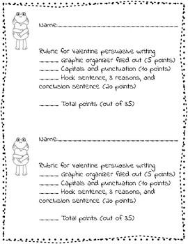 Valentine's Day Common Core Persuasive Writing