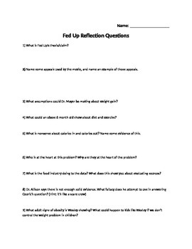 Fed Up Reflection Questions