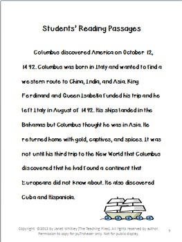 Columbus Day No Prep Lesson Suggestions for Grades 4-6 with Literacy Activities