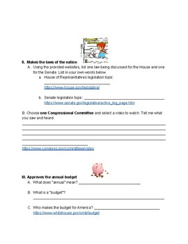 Federal Legislative Branch Webquest