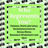 Federal, State & Local Representatives Research & Quiz Social Media Editable