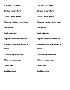Federal v. State Power: Classify Powers Game
