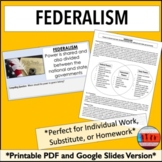 Federalism: A 7 Principles of the Constitution Activity