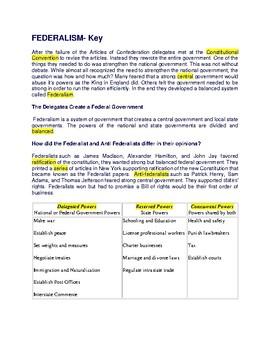 Federalism - CLOZE Reading