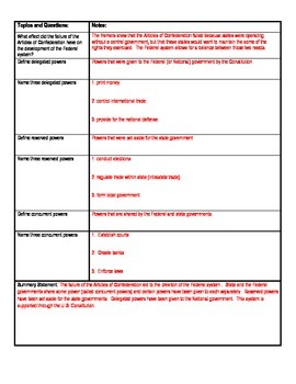 Federalism Cornell Notes