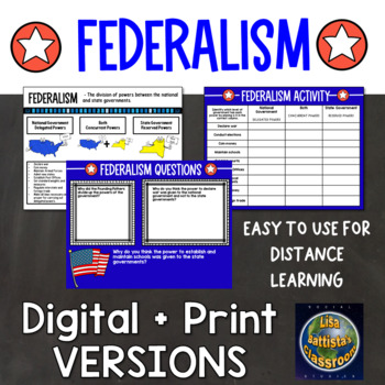 Federalism Graphic Organizer Note Page