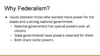 Federalism PowerPoint, Guided Notes, and Completed Notes