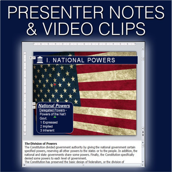 Federalism PowerPoint w/video clips & presenter notes(Government Civics)