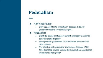Federalism, Separation of Powers and Checks and Balances