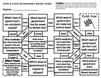 Federalism: State & Local Governments Civics Review Maze