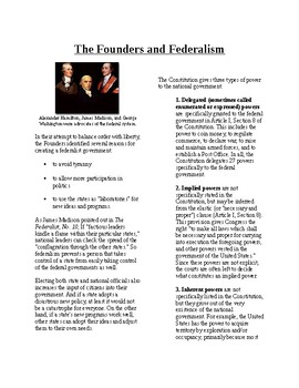 Informational Text - Federalism: The Founders and Federalism (Sub Plans)