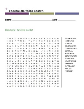 Federalism Word Search