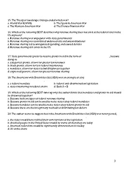 Federalism in Focus - Reading Comprehension Quiz
